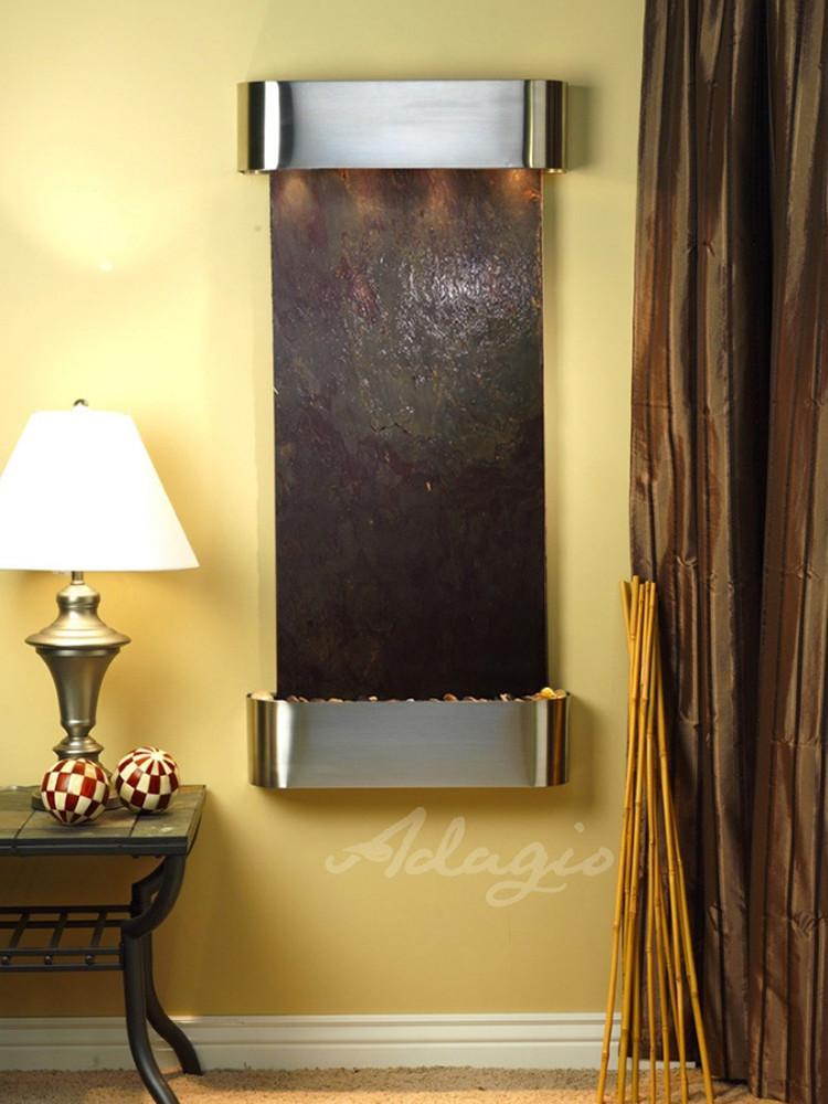 Cascade Springs: Multi-Color FeatherStone and Stainless Steel Trim with Rounded Corners