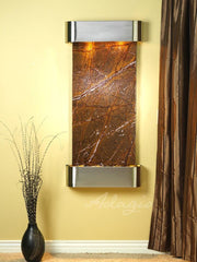 Cascade Springs: Rainforest Brown Marble and Stainless Steel Trim with Rounded Corners