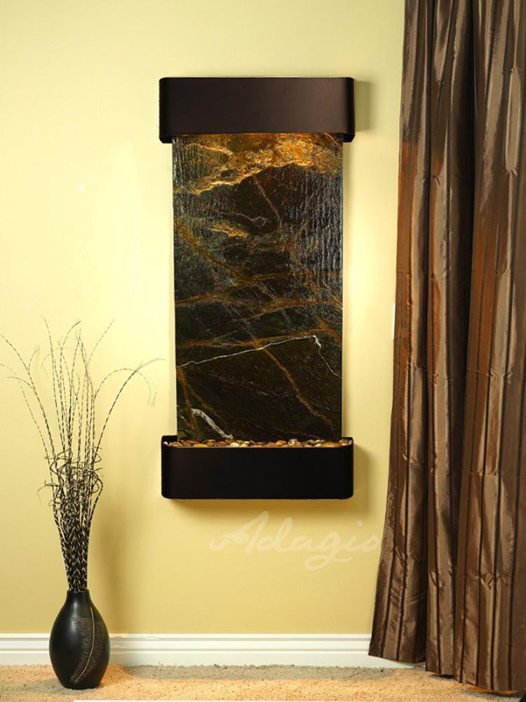 Cascade Springs: Rainforest Green Marble and Blackened Copper Trim with Rounded Corners