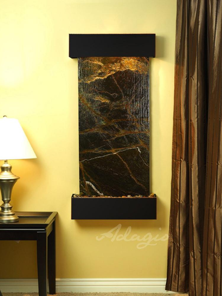 Cascade Springs: Rainforest Green Marble and Blackened Copper Trim with Squared Corners