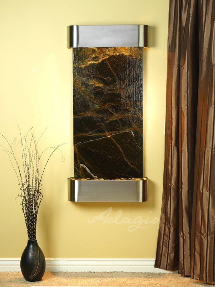 Cascade Springs: Rainforest Green Marble and Stainless Steel Trim with Rounded Corners