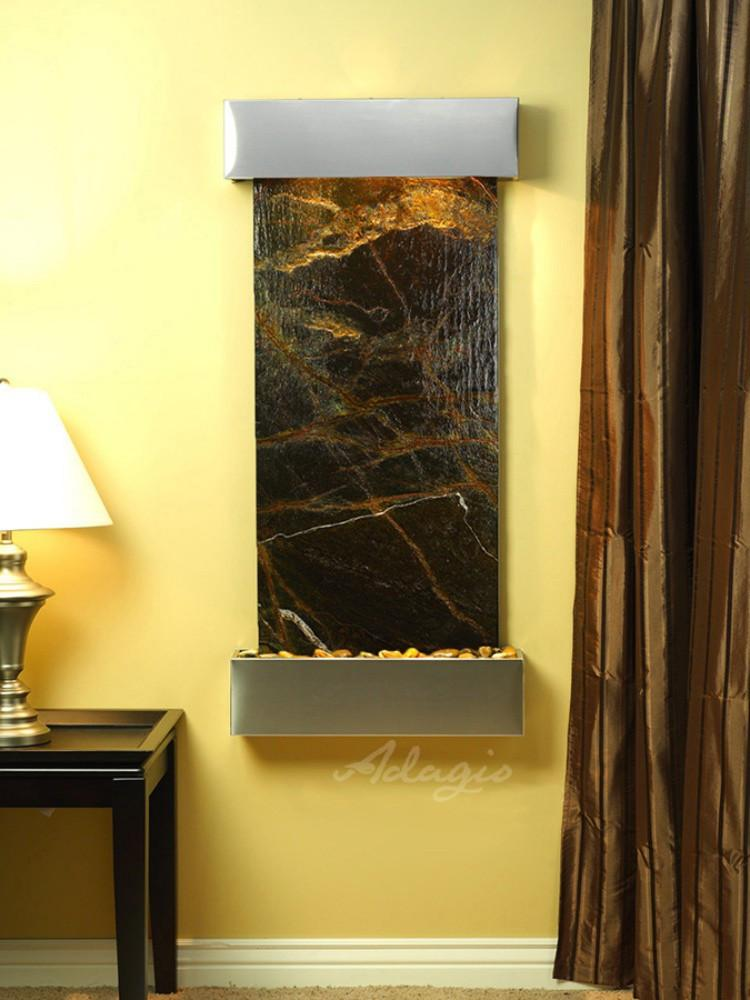 Cascade Springs: Rainforest Green Marble and Stainless Steel Trim with Squared Corners