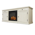 Cassidy Entertainment Center With Electric Fireplace in Distressed White - Soothing Company