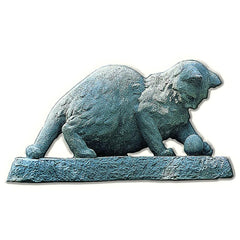 Cat Chasing Ball Cast Stone Garden Statue - Soothing Company