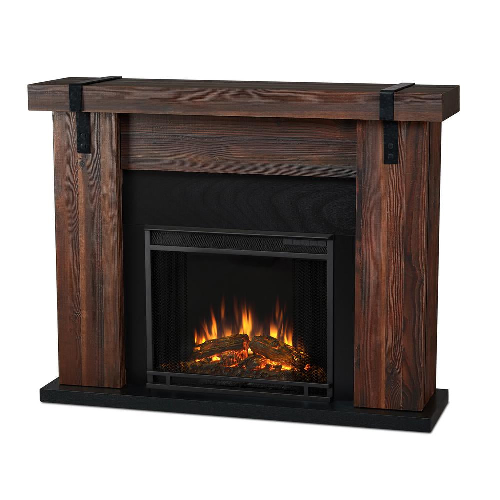 Aspen Electric Fireplace in Chestnut Oak Barnwood - Soothing Company