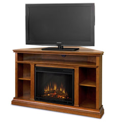 Churchill Corner Electric Fireplace in Oak - Soothing Company