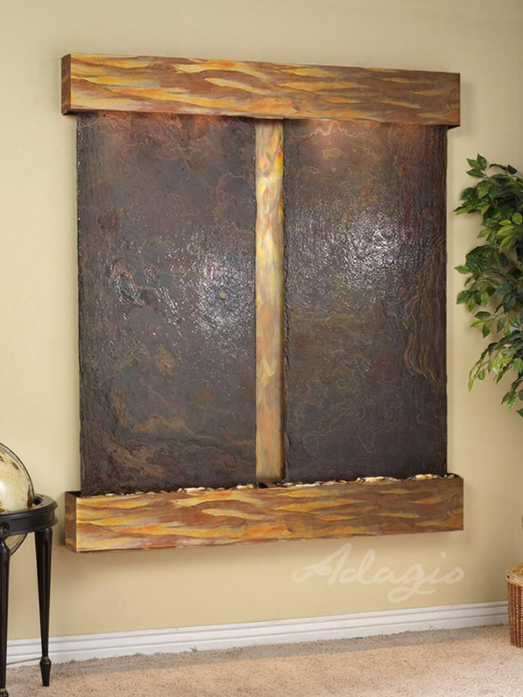 Cottonwood Falls: Multi-Color Slate and Rustic Copper Trim with Squared Corners