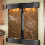 Cottonwood Falls: Rainforest Brown Marble and Blackened Copper Trim with Squared Corners