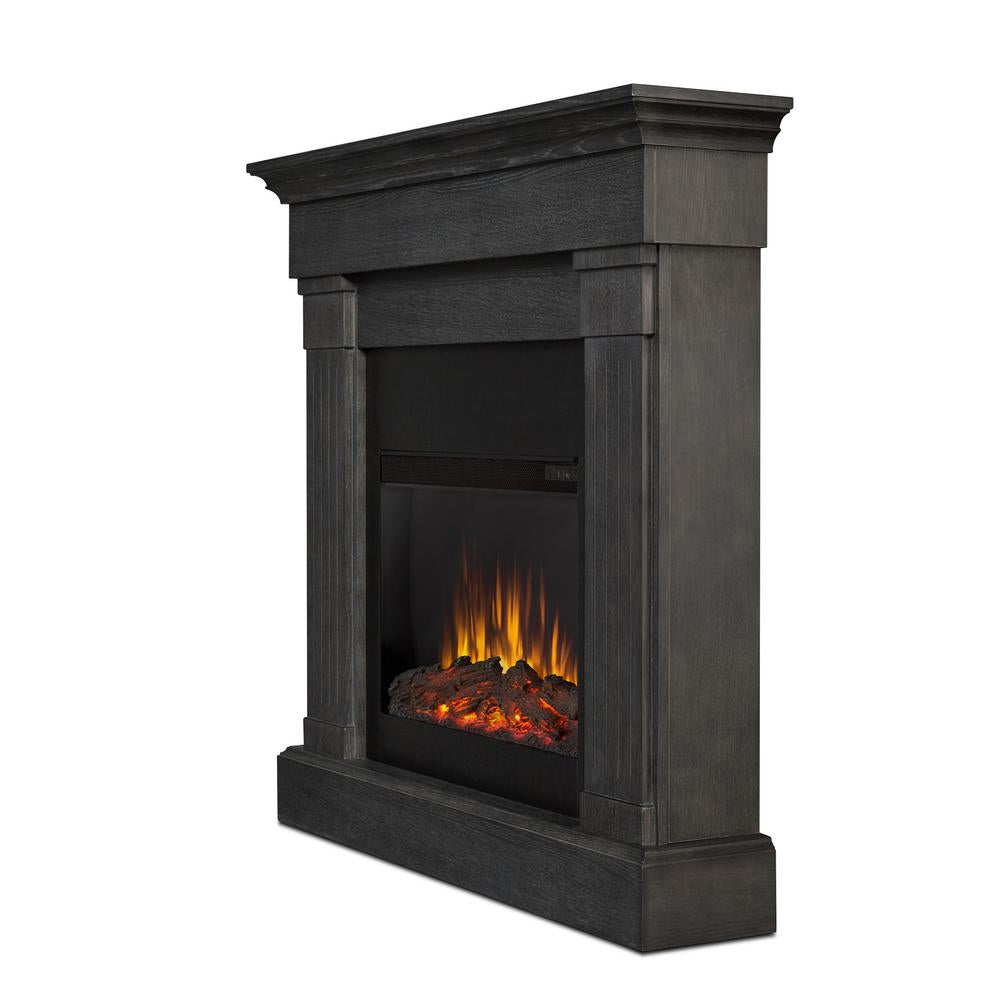 Crawford Slim Series Electric Fireplace in Grey Finish - Soothing Company
