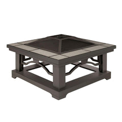 Crestone Wood Burning Fire Pit with Gray Tile - Soothing Company