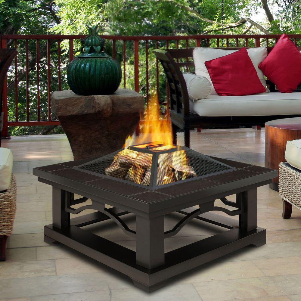 Crestone Wood Burning Fire Pit with Brown Tile - Soothing Company