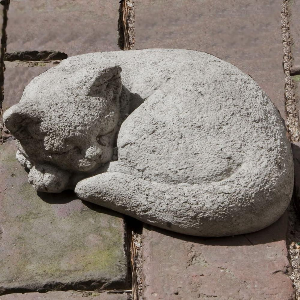 Curled Cat Small Cast Stone Garden Statue - Soothing Company