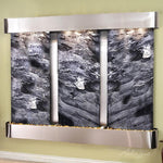 Deep Creek Falls: Black Spider Marble and Stainless Steel Trim with Rounded Corners