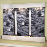 Deep Creek Falls: Black Spider Marble and Stainless Steel Trim with Squared Corners
