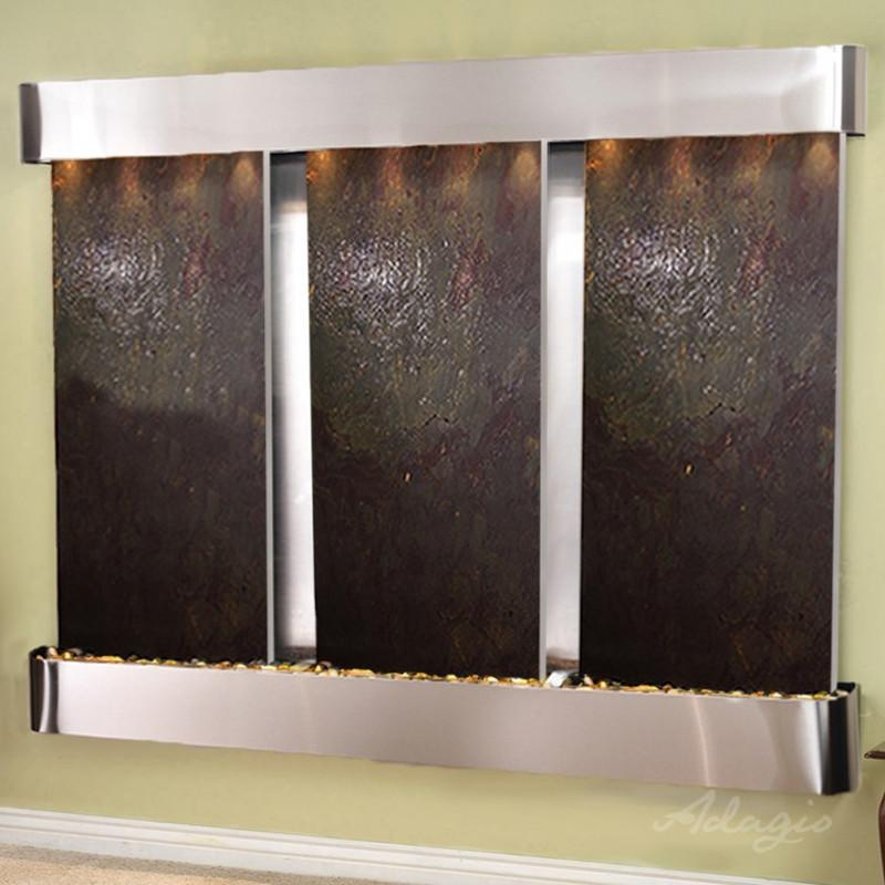 Deep Creek Falls: Multi-Color Featherstone and Stainless Steel Trim with Rounded Corners
