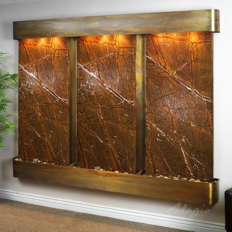 Deep Creek Falls: Rainforest Brown Marble and Rustic Copper Trim with Rounded Corners