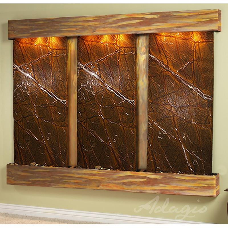 Deep Creek Falls: Rainforest Brown Marble and Rustic Copper Trim and Squared Corners