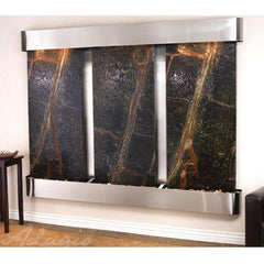 Deep Creek Falls: Rainforest Green Marble and Stainless Steel Trim with Rounded Corners