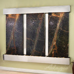 Deep Creek Falls: Rainforest Green Marble and Stainless Steel Trim with Squared Corners