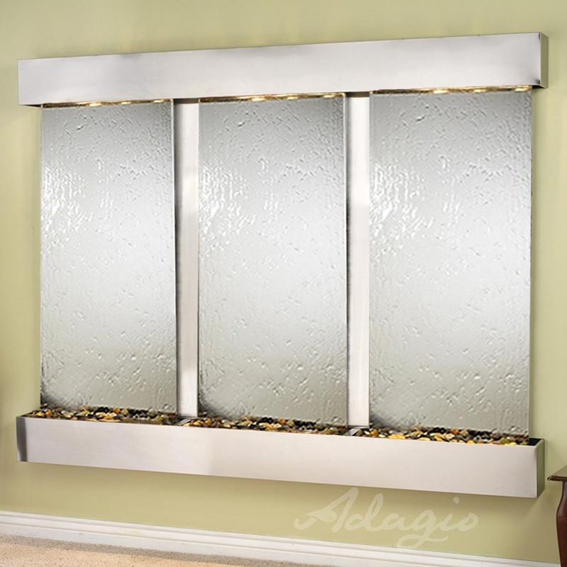 Deep Creek Falls: Silver Mirror and Stainless Steel Trim with Squared Corners