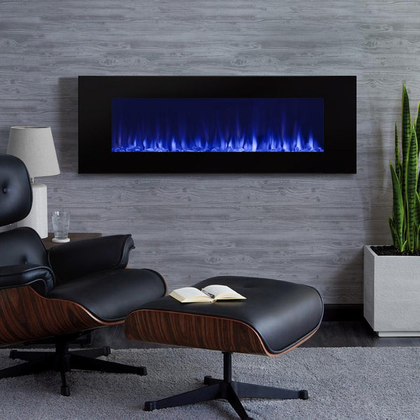 "DiNatale 50"" Wall-Mounted Electric Fireplace in Black - Soothing Company"