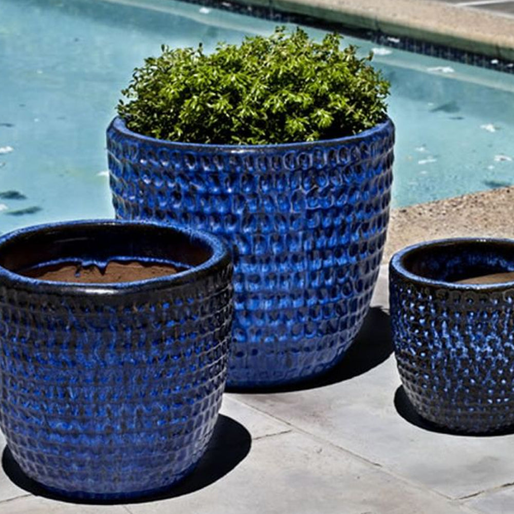 Dimple Planter Set of 3 in Riviera Blue - Soothing Company