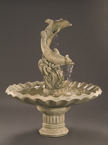 Dolphins with Shell Bowl Outdoor Fountain