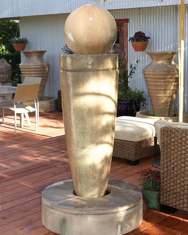 Drum Outdoor Fountain with Ball - Soothing Walls