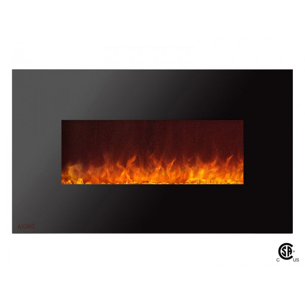 "36"" Royal Wall Mount Electric Fireplace with Crystals - Soothing Company"