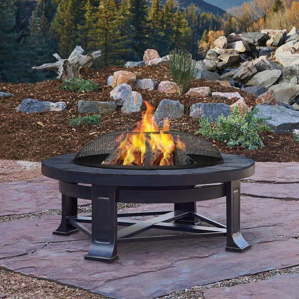 Edwards Wood-Burning Fire Pit with Gray Tile - Soothing Company