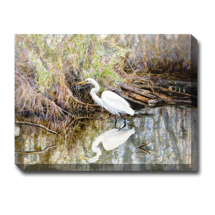 Egret Outdoor Canvas Art - Outdoor Art pros