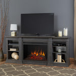 Eliot Grand Entertainment Center With Electric Fireplace in Antique Gray - Soothing Company