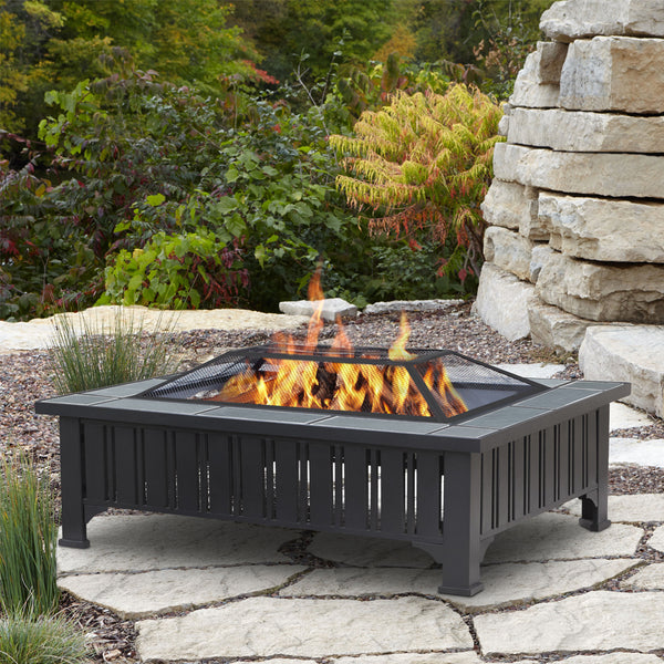 Evans Rectangle Wood Burning Fire Pit - Soothing Company
