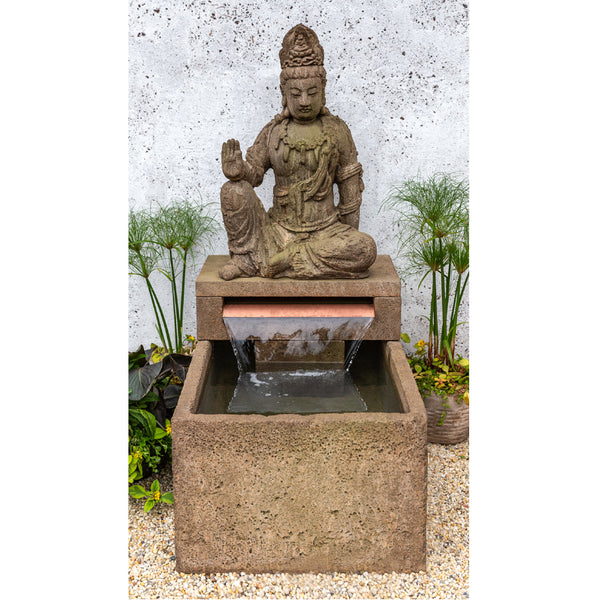 Antique Quan Yin Buddha Outdoor Fountain - Soothing Company