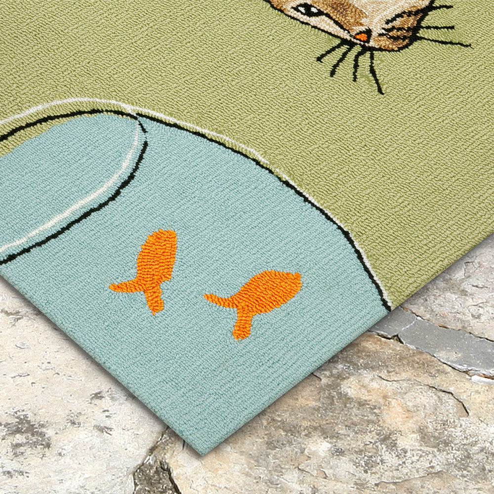 Liora Manne Frontporch Curious Cat Green Area Rug - Soothing Company