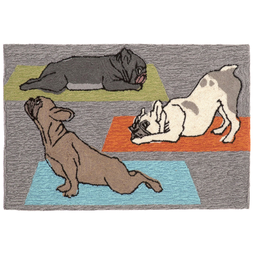 Liora Manne Frontporch Yoga Dogs Heather Area Rug - Soothing Company