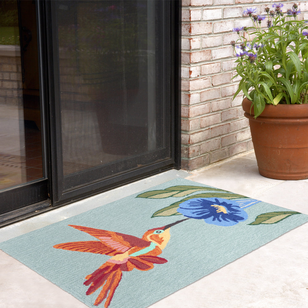 Liora Manne Frontporch Hummingbird Sky Area Rug - Soothing Company
