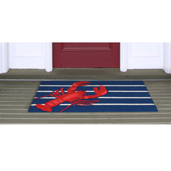 Liora Manne Frontporch Lobster on Stripes Navy Area Rug - Soothing Company