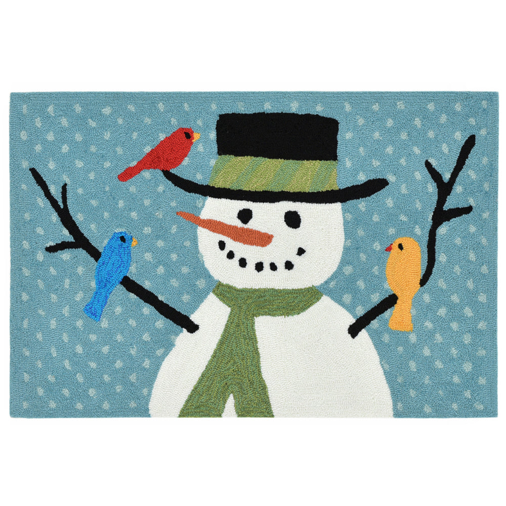 Liora Manne Frontporch Snowman And Friends Blue Area Rug - Soothing Company