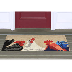 Liora Manne Frontporch Barnyard Roosters Neutral Area Rug - Soothing Company