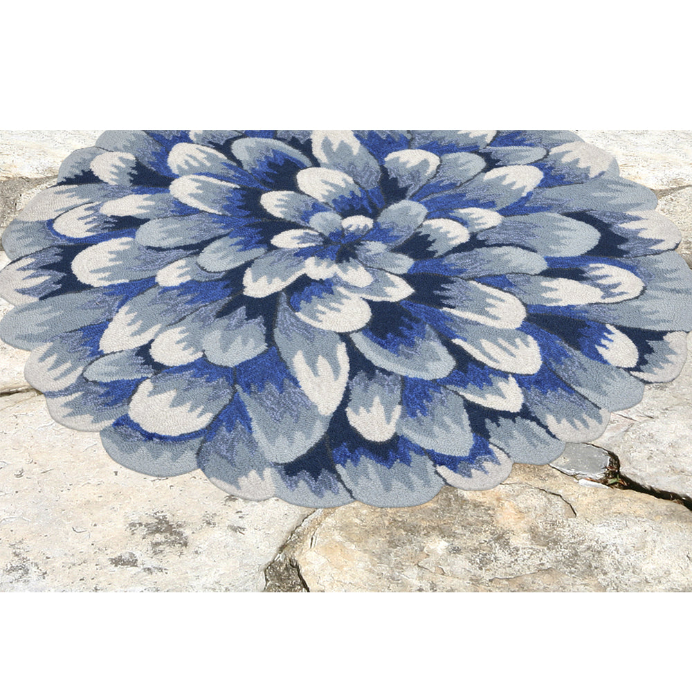 Liora Manne Frontporch Mum Blue Area Rug - Soothing Company