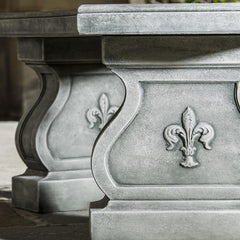 Fleur De Lys Curved Stone Bench - Soothing Company