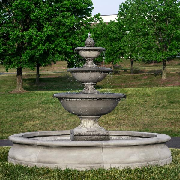 Fonthill Tiered Outdoor Water Fountain With Basin - Soothing Company