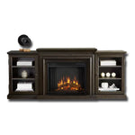 Frederick Entertainment Center Electric Fireplace in Teakwood Gray - Soothing Company