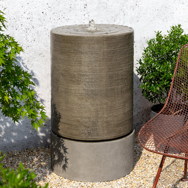 Large Ribbed Cylinder Garden Fountain - Soothing Company
