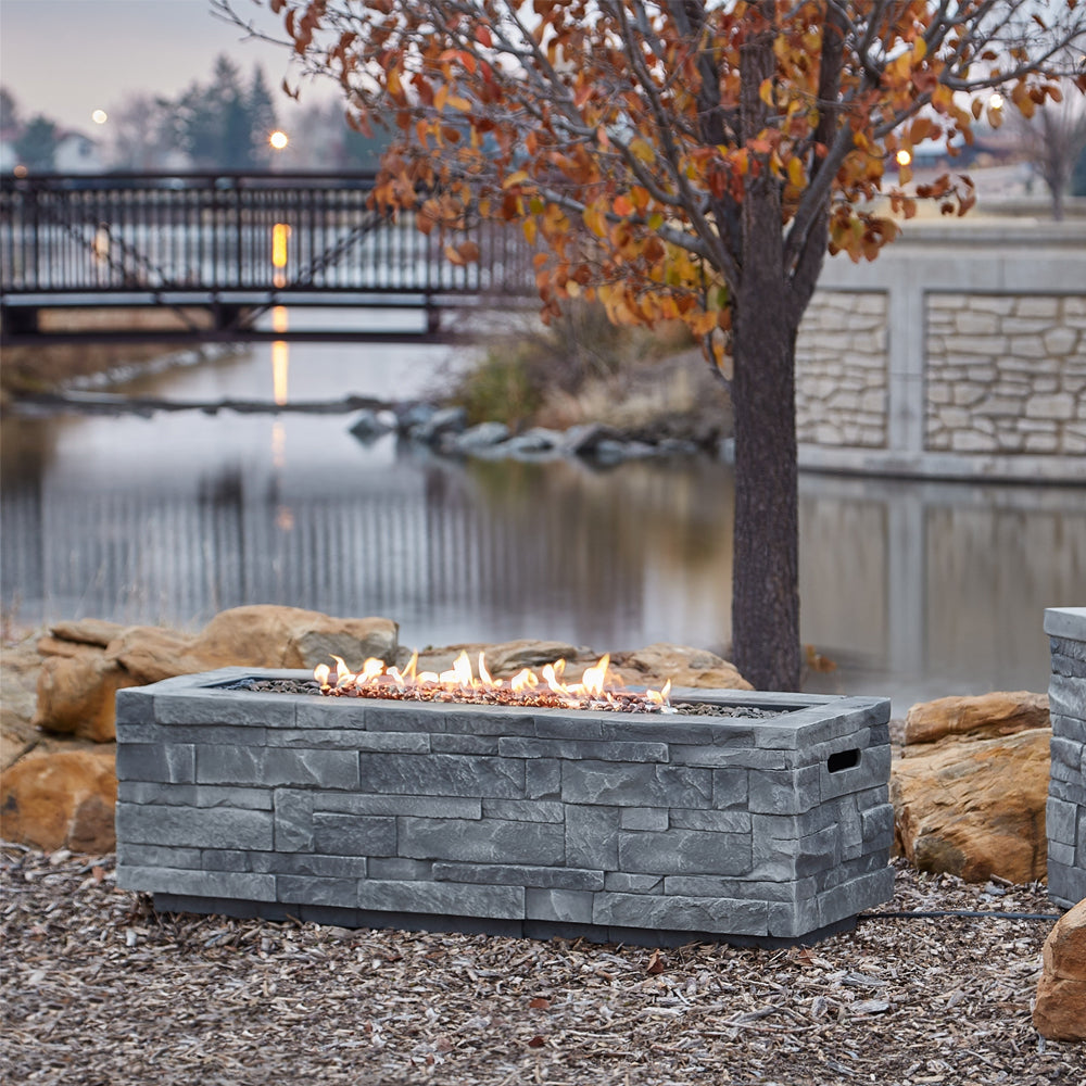 Gray Ledgestone Rectangle Propane Fire Table with NG Conversion Kit - Soothing Company