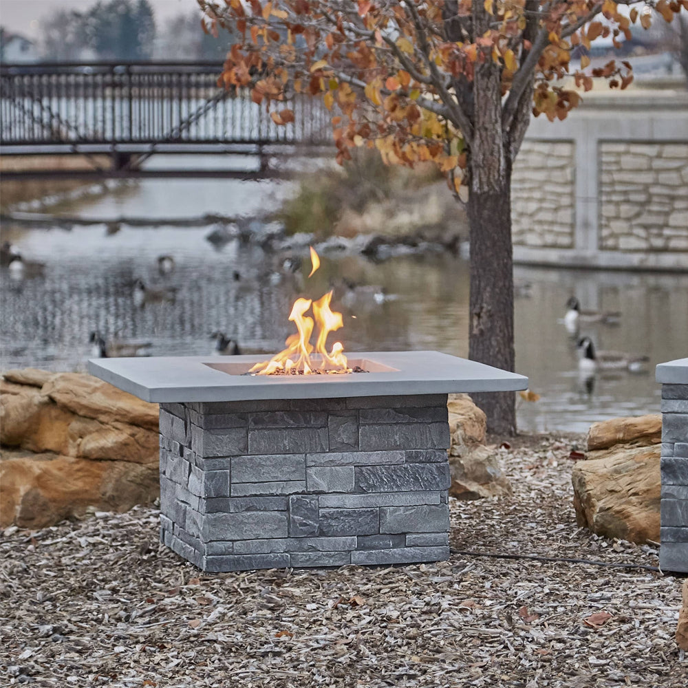 Gray Ledgestone Square Propane Fire Table with NG Conversion Kit - Soothing Company