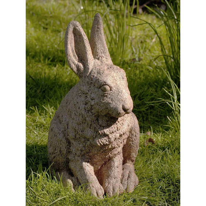 Hare Seated-Ears up Cast Stone Garden Statue - Soothing Company