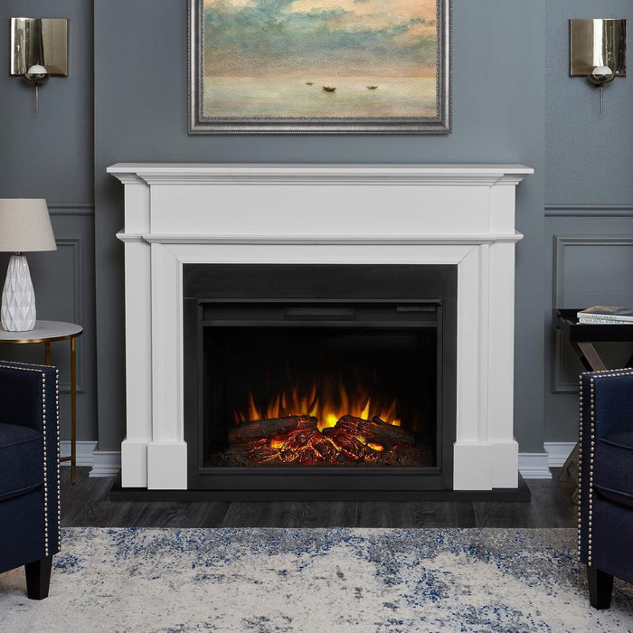 Harlan Grand Electric Fireplace in White - Soothing Company