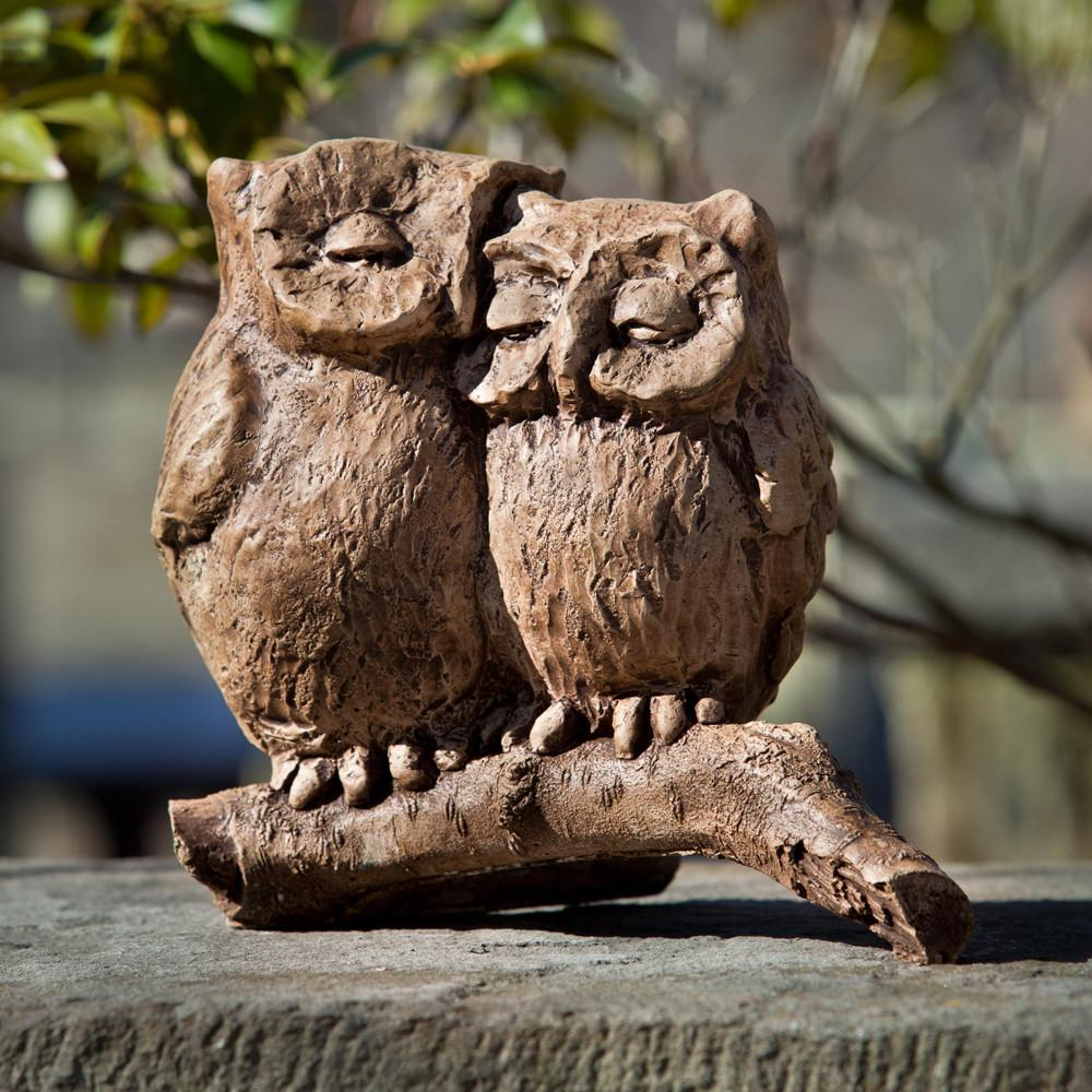 Honeymoon Owls Cast Stone Garden Statue - Soothing Company